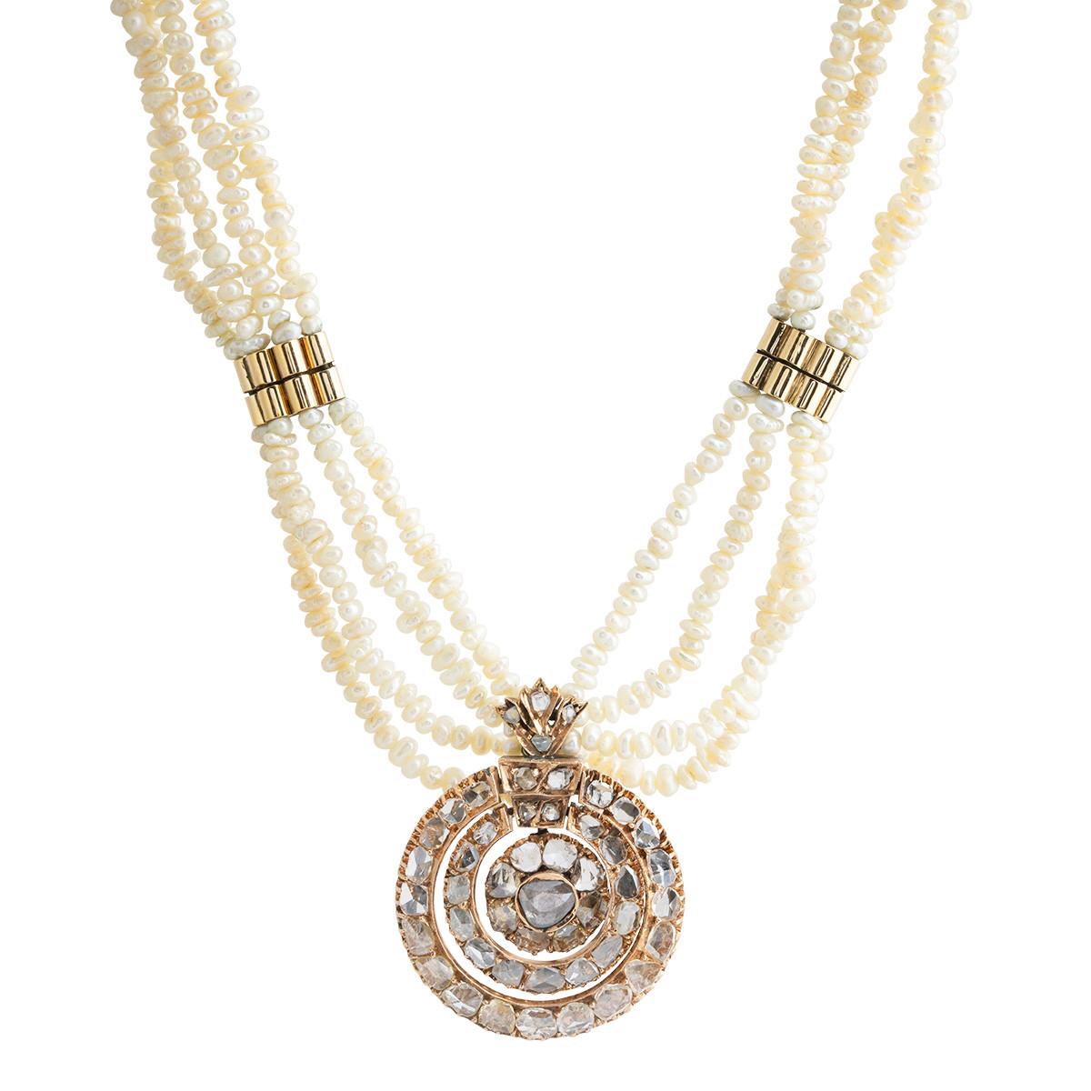 Antique 2.50 CTW Diamond & Pearl Necklace