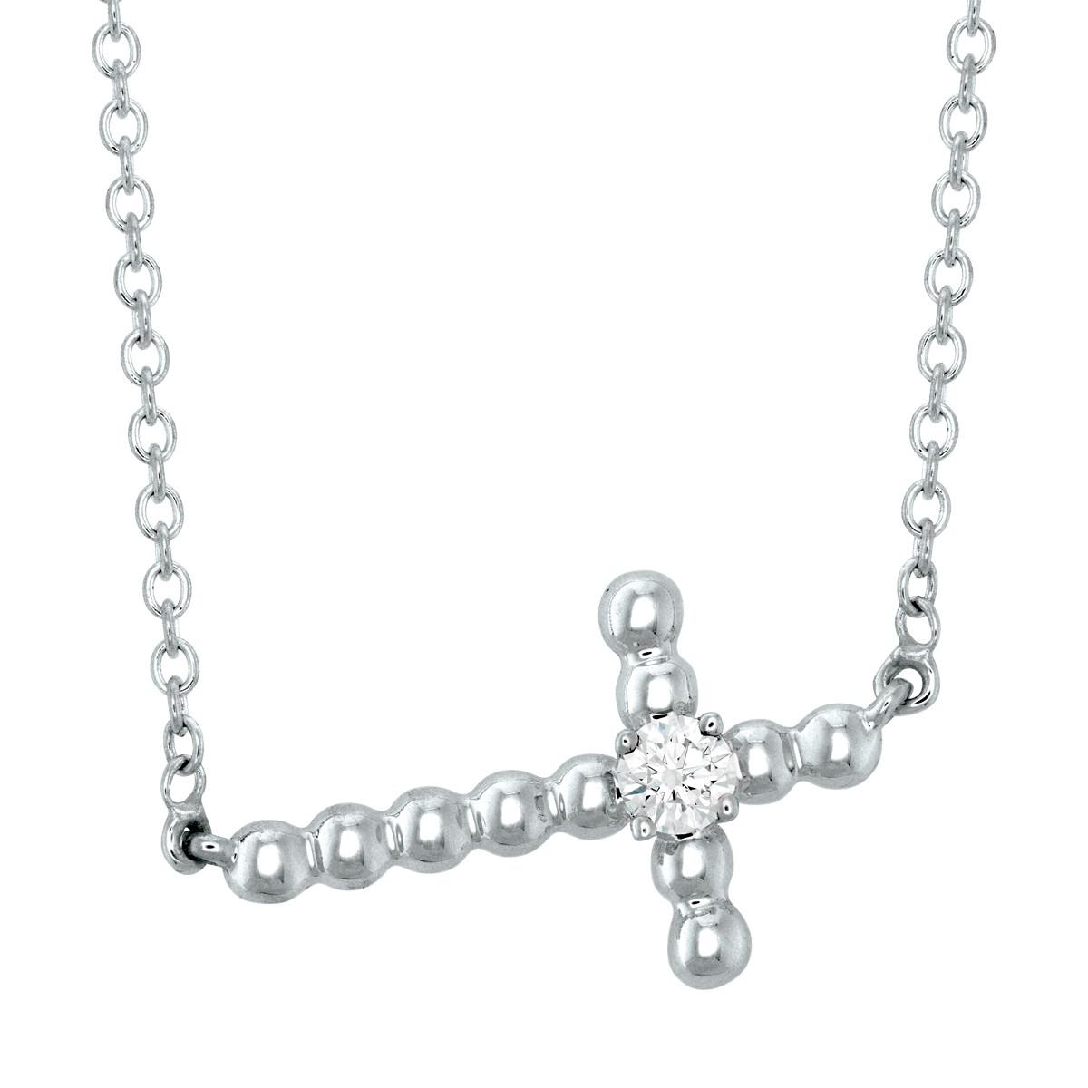 Hearts On Fire® Charmed Horizontal Beaded Cross Necklace