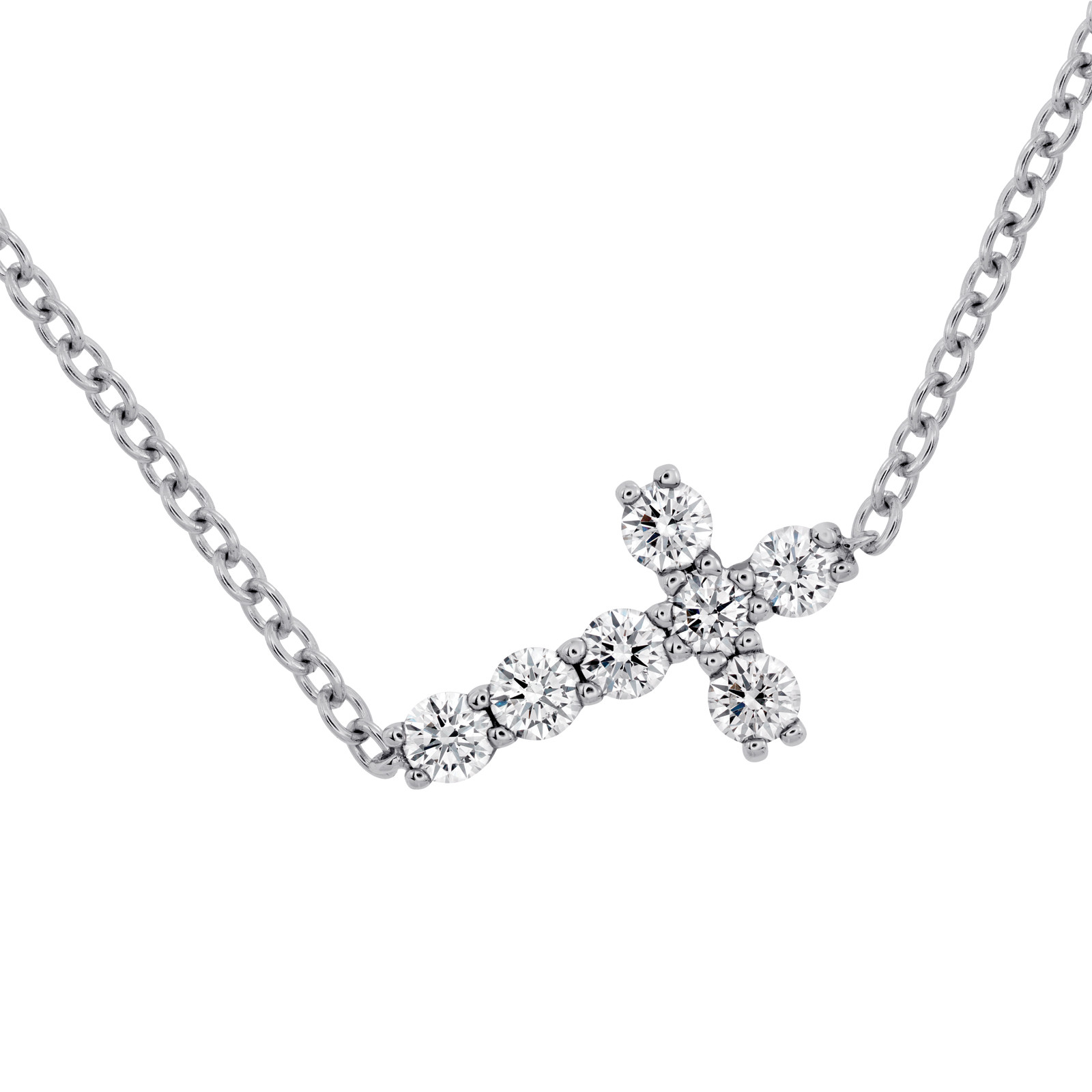 Hearts On Fire® Charmed Horizontal Diamond Cross Necklace
