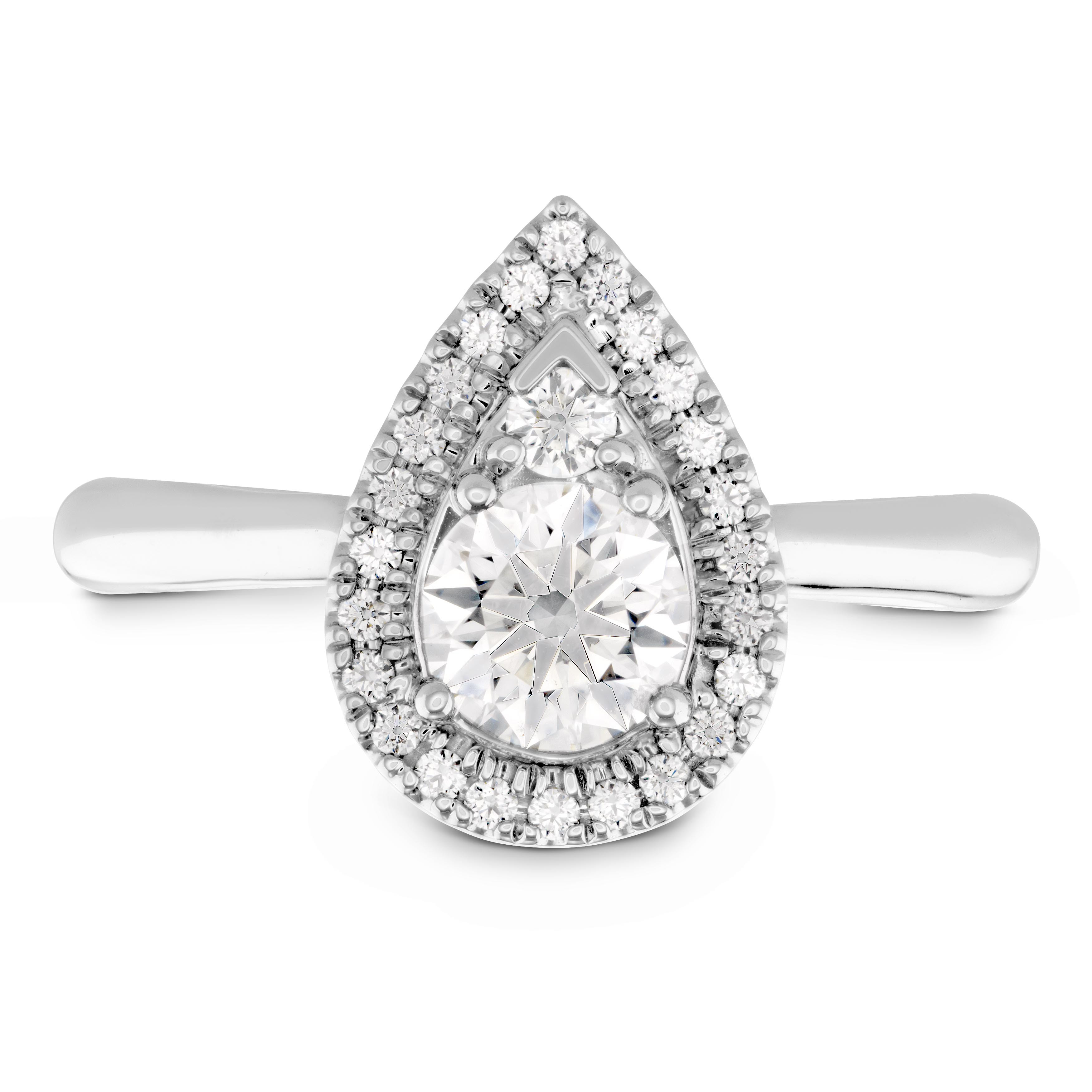 New Hearts On Fire® 0.47 CTW Diamond Destiny Teardrop Shape Halo Engagement Ring