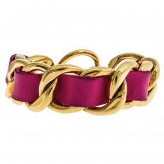 Vintage Chanel Leather & Gold Tone Bracelet