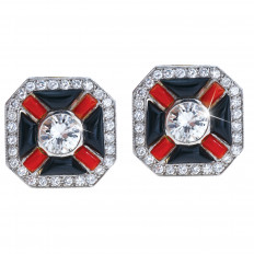 New Art Deco 2.55 CTW Diamond, Onyx & Carnelian Earrings
