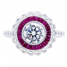 New Beverley K 0.89 CTW Diamond & Ruby Halo Engagement Ring