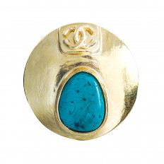 Vintage Chanel Synthetic Turquoise Gripoix Brooch
