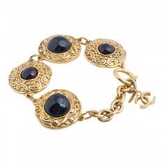 Vintage Chanel Red Gripoix Glass Medallion Bracelet