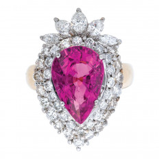 New 11.75 CTW Pink Rubellite Tourmaline & Diamond Double Halo Ring