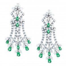 Vintage 12.50 CTW Emerald & Diamond Earrings