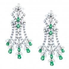 Vintage 12.50 CTW Emerald & Diamond Earrings