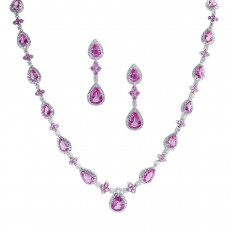 Vintage 48.05 CTW Pink Sapphire & Diamond Halo Necklace & Earrings Set