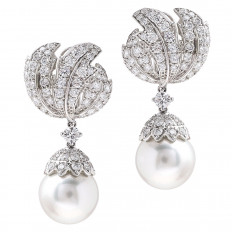 New White South Sea Pearl & 6.73 CTW Diamond Dangle Earrings