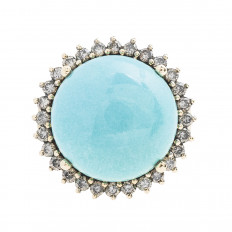 Vintage Synthetic Turquoise & 0.52 CTW Champagne Diamond Halo Ring