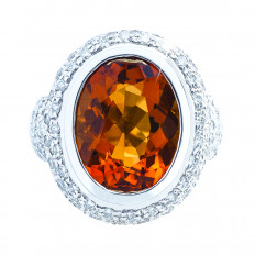 Vintage 12.02 CTW Citrine & Diamond Halo Ring