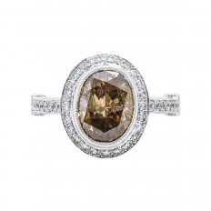 New 3.02 CTW Champagne & White Diamond Halo Ring