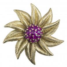 Vintage Retro Tiffany & Co. 2.60 CTW Ruby Flower Brooch