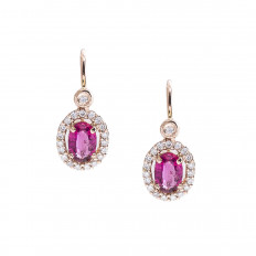 New Beverley K 1.13 CTW Pink Tourmaline & Diamond Halo Earrings