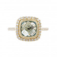 New Madison L 2.53 CTW Aquamarine & Diamond Halo Ring