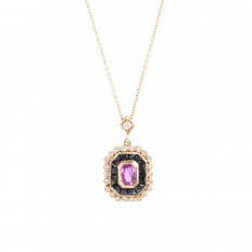 New Beverley K 2.01 CTW Diamond, Onyx & Pink Sapphire Necklace