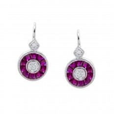 New Beverley K 1.68 CTW Diamond & Ruby Halo Earrings