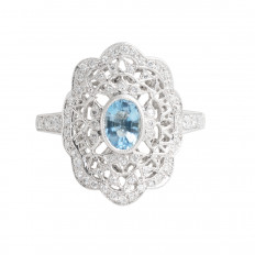 New Beverley K 0.78 CTW Aquamarine & Diamond Ring