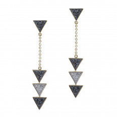 New 0.71 CTW Black & White Diamond Triangle Drop Earrings