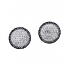 New 0.90 CTW Black & White Diamond Circle Stud Earrings