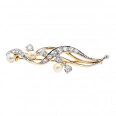 Vintage 0.48 CTW Diamond & Pearl Flower Pin