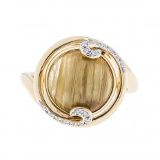 New 4.824 CTW Rutilated Quartz & Diamond Ring