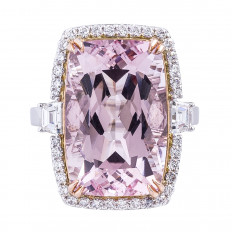 New 13.70 CTW Morganite & Diamond Halo Ring