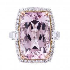 New 13.70 CTW Morganite & Diamond Halo Ring