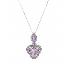 New 7.708 CTW Morganite, Pink Sapphire & Diamond Halo Pendant
