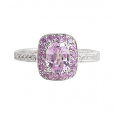 New Mayfields 2.22 CTW Pink Sapphire & Diamond Halo Ring