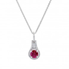 Vintage 0.92 CTW Ruby & Diamond Halo Necklace