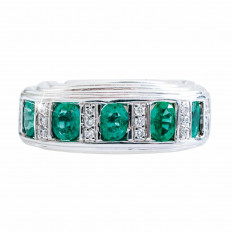 Vintage 1.91 CTW Emerald & Diamond Band