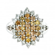 Vintage 1.56 CTW Multi-Colored Diamond Cluster Ring
