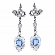 Vintage 7.88 CTW Blue Sapphires & Diamond Drop Earrings