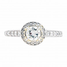 Vintage Ritani 0.96 CTW Diamond Halo Engagement Ring