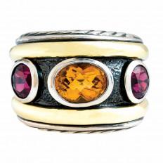 Vintage David Yurman Amethyst & Citrine Renaissance Ring