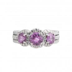 Vintage A. Jaffe 2.08 CTW Pink Sapphire & Diamond Halo Ring