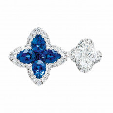 New 1.60 CTW Diamond & Blue Sapphire Halo Clover Ring