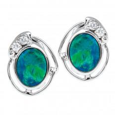 Vintage 0.10 CTW Diamond & Opal Earrings