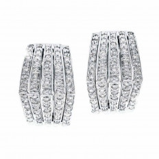 Vintage 1.40 CTW Diamond Hoop Earrings
