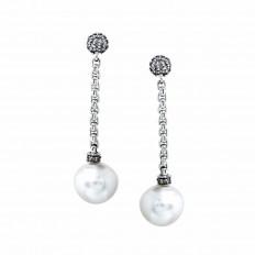 Vintage David Yurman 0.70 CTW Diamond & White Pearl Drop Earrings