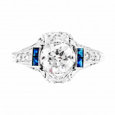 Antique 1.36 CTW Diamonds & Sapphire Ring