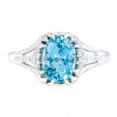 New 2.19 CTW Aquamarine & Diamond Ring