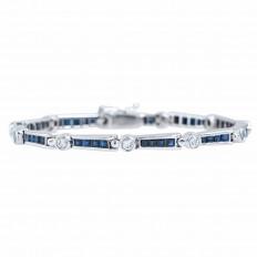 Vintage 2.09 CTW Blue Sapphires & Diamond Bracelet