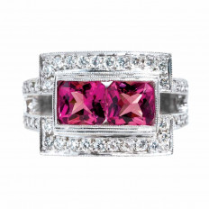Vintage 3.45 CTW Pink Tourmaline & Diamond Ring