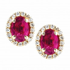 Vintage Effy 0.77 CTW Ruby & Diamond Halo Stud Earrings