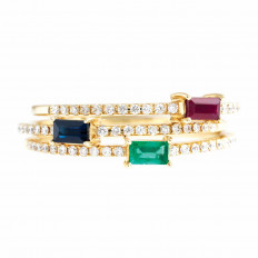 New Venetti 0.67 CTW Emerald, Ruby, Blue Sapphire & Diamond Stackable Bands