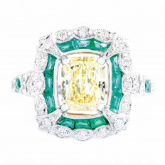 New 3.36 CTW Diamond & Emerald Double Halo Ring
