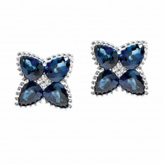 New 2.08 CTW Blue Sapphire & Diamond Clover Stud Earrings